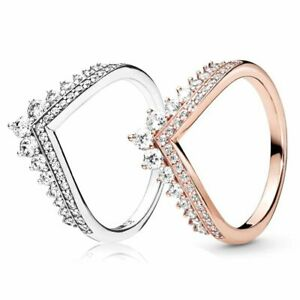 Princess Wish Ring 925 Solid Sterling Silver or Rose Gold Wishbone Stacking Band