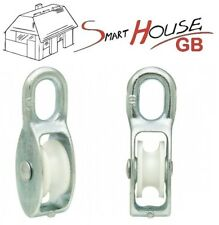 3 x 80mm Zinc Single Pulley Block With Nylon Sheaves Max Resist. 900kg