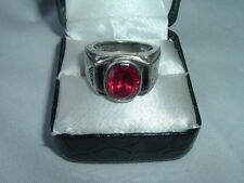 "Ruby Ring Size 9 In Ring Box Designer ""F. D."" Sterling Silver Mens Onyx And"