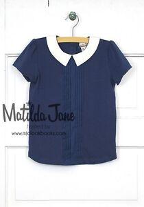 MATILDA JANE Best Friends Short Sleeved Collar Tee 6 NWT Secret Fields Navy Blue