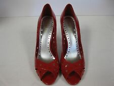 BCBGirls BCBG LIBRARY Womens Career Dress Shoes 10 Red Leather Heels Pumps