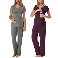 Women Maternity Short Sleeve Nursing Baby Solid T-shirt Tops+Pants Pajamas Sets