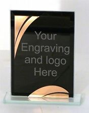 Personalised 6.5 Inch Bronze & Black Glass Plaque