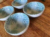 """4 Japanese Ceramic 4.25"""" Condiment Dipping Bowls Soy Sauce Wasabi Blue Floral"""