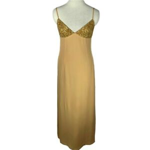 Pianoforte Di Max Mara Gold Slip Maxi Dress Evening Gown Size 6 Made in Italy