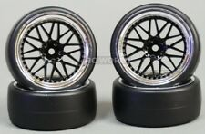 RC Car 1/10 DRIFT WHEELS TIRES Package 3MM Offset BLACK W/ CHROME Lip 3 Piece