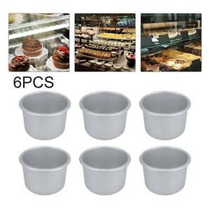 6Pcs Round Mini Cake Pan Removable Bottom Pudding Mold DIY Baking Moulds