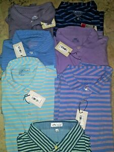 PETER MILLAR CASUAL SHORT SLEEVE POLO SHIRT SEASIDE M BLUE