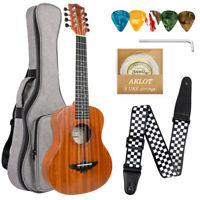 8 String Ukulele 26 inch Tenor Ukulele Hawaiian Guitar Mahogany w/Bag Strap