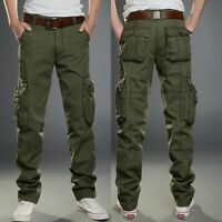 Combat Men Cotton Military Cargo Pants Work Camouflage ARMY Green Camo Trousers
