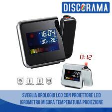SVEGLIA OROLOGIO LCD CON PROIETTORE LED IGROMETRO MISURA TEMPERATURA PROIEZIONE
