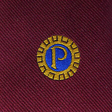 Probus Club tie Vintage 1990s Burgundy British association organisation P emblem