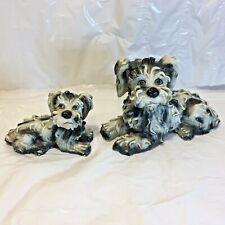 2 Vtg Black & White Terrier Spaghetti Dog Figures Art Pottery Hand Painted
