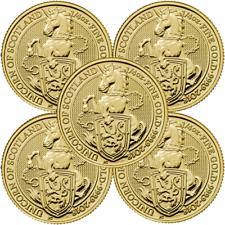 Lot of 5 - 2018 U.K. 25 Pound 1/4 oz Gold Queen's Beast The Unicorn Brilliant Un
