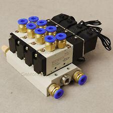 4V110-06 DC 12V 2 Position 5 Way 4 Pneumatic Solenoid Valve Muffler Base