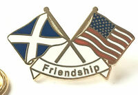 Scotland & USA America Flags Friendship Enamel Lapel Pin Badge *New Design*