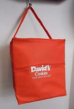"""Bright Orange David's Cookies 11"""" Square Insulated Thermal Zippered Market Bag"""
