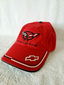Corvette Embroidered Racing Hat Chevrolet Chevy GM Red w/ Black Logo Adjustable
