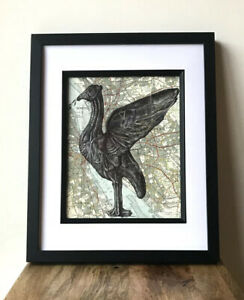 Liver Bird pen drawing on map of Liverpool .A4 Print.Unframed