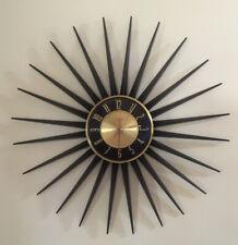 Vtg Mcm Elgin 24� Starburst Wall Clock Battery Black Metal Gold Accent Working
