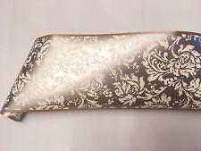 Metallic Silver Asian Oriental Gold Trim White Damask Scroll Wallpaper Border