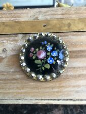 Antique Button Painted Enamel With Steel Cut Embellishments