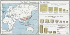 WORLD. Commodities - Production & sources of Tea  1907 old antique map chart
