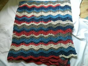 Handmade Afghan or Blanket, Zig Zag Wave Style, NEW, Unused, Blues & Reds