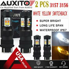 4X AUXITO 3157 LED Switchback Dual Color White Yellow amber Turn Signal Light EA