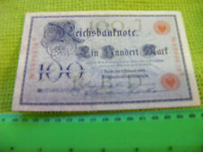 Huge German 100-Mark Banknote,nice condition, from 1908.Ser.No.8999639A,red seal