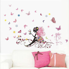 Removable DIY Wall Stickers Bedroom Decor Girl Flower Fairy Princess Butterfly