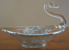 Duncan Miller Sterling Crystal Label Non Tarnish Silver City Glass Clear Swan