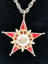 Vintage Coro Red Star And Crown Necklace Enamel Gold Tone Heavy Chain