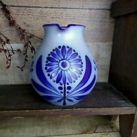Vintage Salt Glazed Cobalt Blue Decorated Stoneware Pottery Pitcher Flower