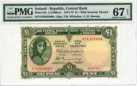 Ireland PMG Certified Banknote 1975 1 Pound Punt UNC 67 EPQ Superb Gem Pick 64c