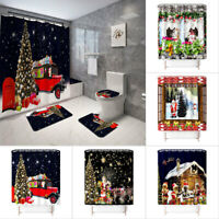 4Pcs Merry Christmas Shower Curtain Bathroom Anti-slip Carpet Rug Toilet Cover