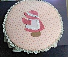 """Dufecks Round 15""""D Wooden Cheese Box HandCrafted Padded Sewing Hat Box Farmhouse"""