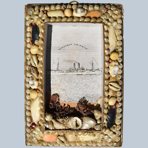"""Antique Victorian 19C Miniature Seashell Frame """"Remember The Maine"""" #1"""
