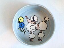 New listing Debby Carman Dog Food Bowl Poodle 2002 Blue Pink Ceramic