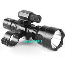 Tactial CREE LED Flashlight Light+ Red Dot Laser Sight+ Barrel Mount Adapter