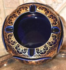 """Vintage Gold  Trimmed Porcelain  COBALT BLUE Ashtray 7""""W x 3.5"""" H Made in Japan"""