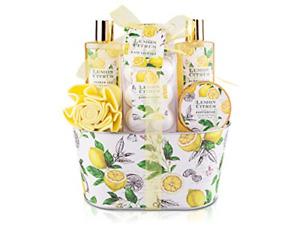 Bath & Shower Gift Set, Lemon Citrus Scent, Spa Gift Basket Kits for Women & for