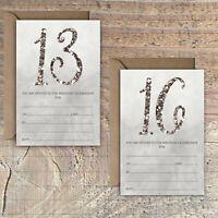BIRTHDAY INVITATIONS BLANK GREY SILVER GLITTER EFFECT 13TH, 16TH PACKS OF 10