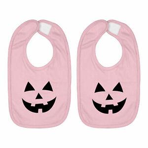 Infant Baby Bib Cotton Hook & Loop 2-Piece Halloween Pumpkin Jack O Lantern Face