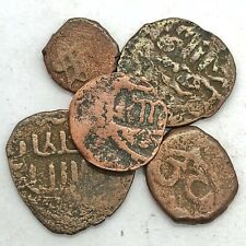 5 Authentic Ancient Or Medieval Islamic Copper Coins Artifacts Middle Eastern