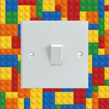 BUILDING BLOCKS PATTERN Electrical Light Switch Surround Printed Vinyl Sticker