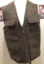 SIEGLER & Co. ADVENTURE PHOTOGRAPHER LEATHER PATCH POCKET MEN'S VEST Size Medium