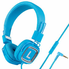 Kanen Kids Childs Boys Girls Adults Headphones With Mic Foldable Adjustable Blue