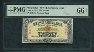 1917 Philippines / WWI Emergency Issue  pick# 40 20 Centavos PMG 66 EPQ Top Pop