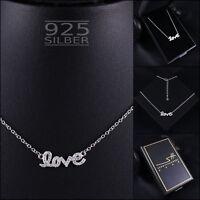 LOVE Kette Halskette 925 Sterling Silber Damen ❤ SWAROVSKI ELEMENTS ❤ inkl. ETUI